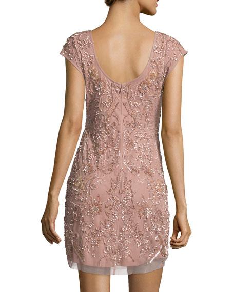Cap-Sleeve Beaded Cocktail Dress