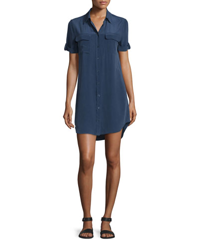 Slim Signature Short-Sleeve Shirtdress