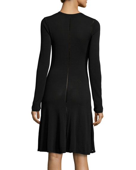 Ergonomic Flirty Long-Sleeve Dress, Black