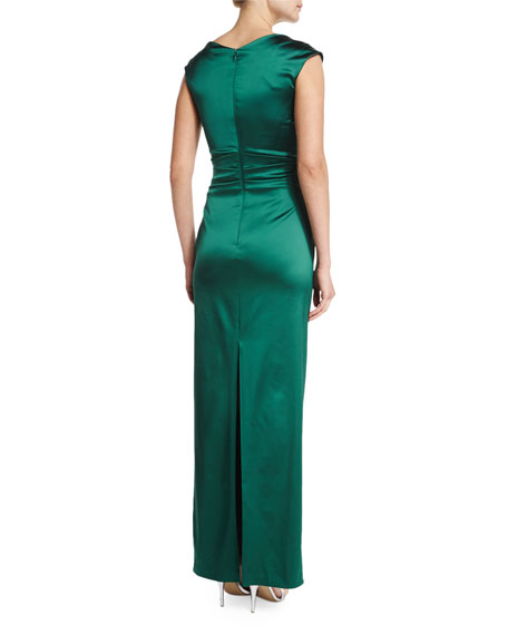 Cap-Sleeve Pleated-Front Gown, Bottle