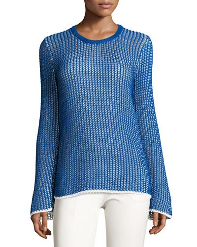 Mesh Long-Sleeve Crewneck Sweater, Blue/White