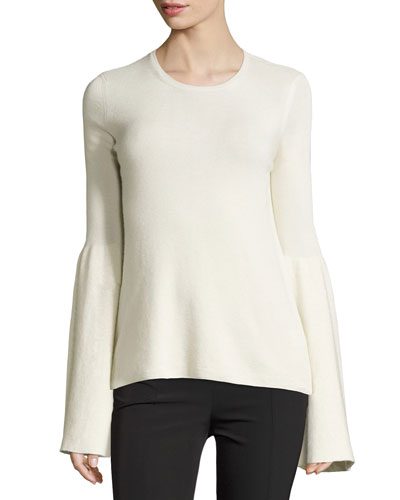 Darcy Cashmere/Silk Bell-Sleeve Sweater, Light Ivory