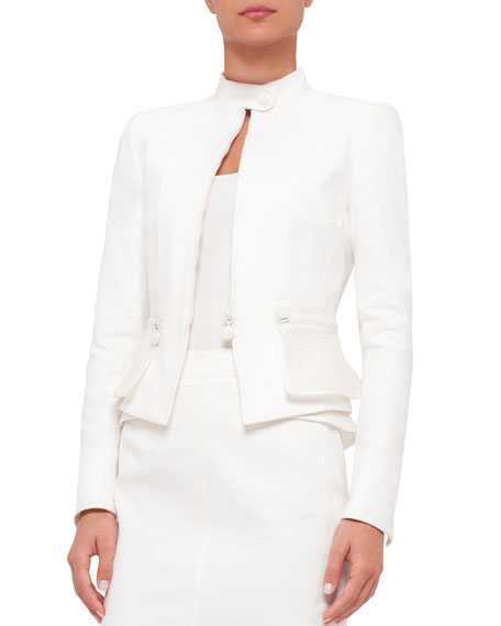 Akris punto Fitted Long-Sleeve Zip-Front Jacket, Cream