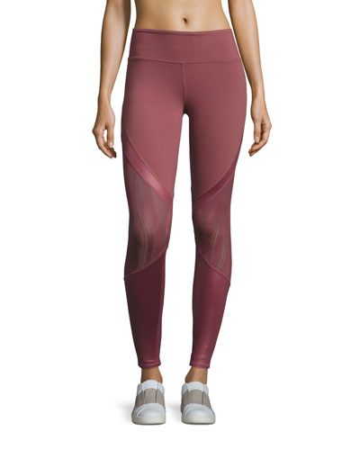 Vitality Lace-Panel Sport Leggings, Grenache