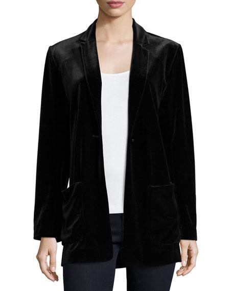 Joan Vass Velvet Button-Front Jacket