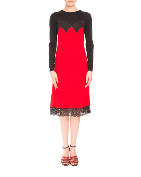 Altuzarra Long-Sleeve Cami-Overlay Cocktail Dress, Scarlet/Black