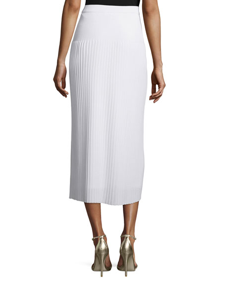 Long Pleated Knit Skirt