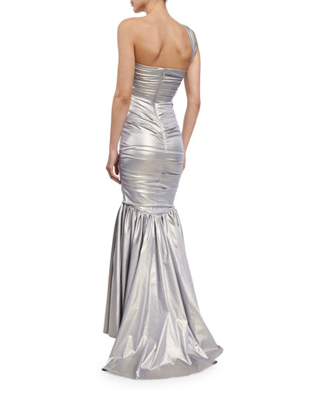 Kornati One-Shoulder Ruched Gown, Silver Metallic