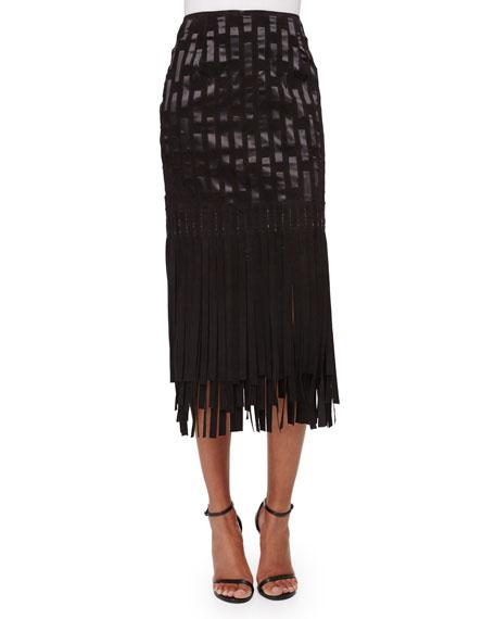 Geometric Suede Fringe Skirt, Black