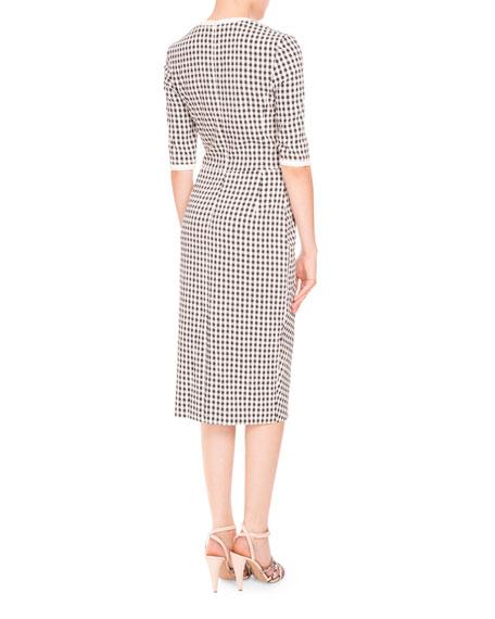 Anna Mini-Gingham Half-Sleeve Dress, Black/White