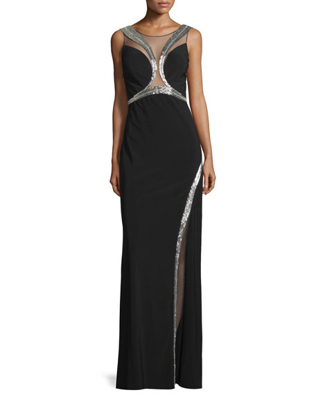 Mignon Embellished Sheer-Inset Gown, Ivory/Gold