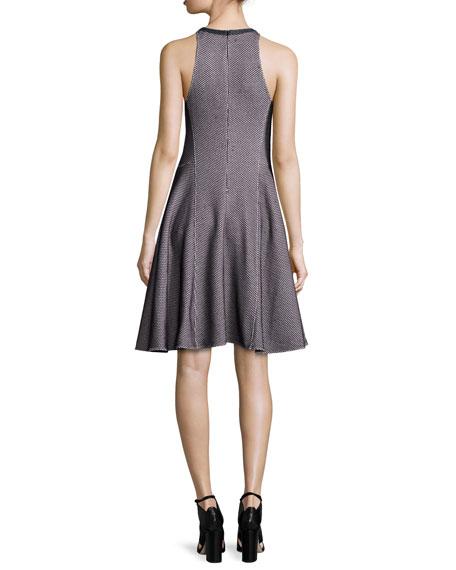 Sleeveless Intarsia Flare Dress, Navy/White