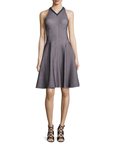 Derek Lam Sleeveless Intarsia Flare Dress, Navy/White