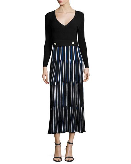Derek Lam Long-Sleeve V-Neck Pleated Dress, Blue/Multi
