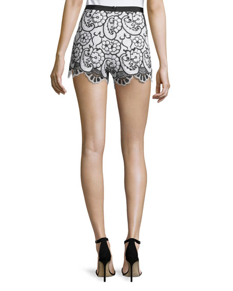 Pia Floral Lace Shorts, Blue