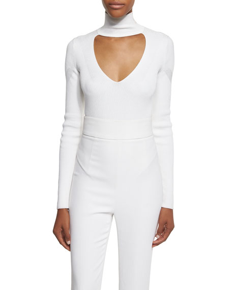 Long-Sleeve Mock-Neck Bodysuit, White