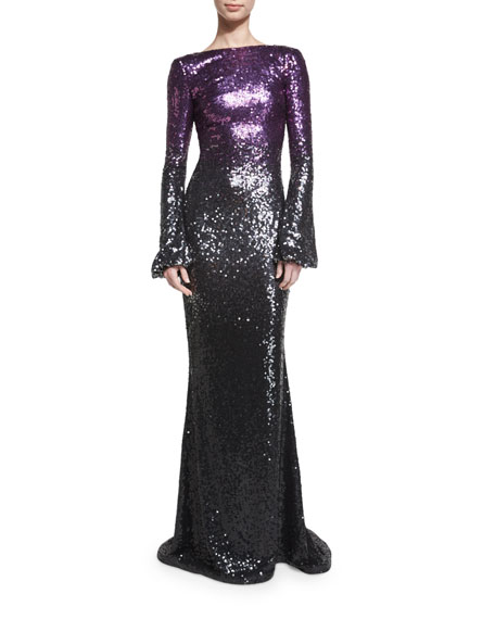 Long-Sleeve Ombre Sequined Gown