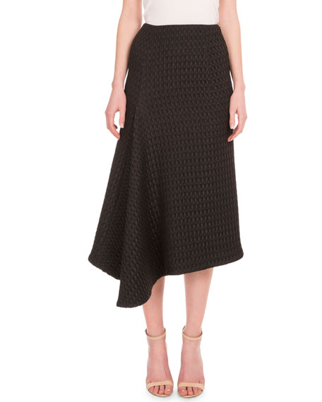 High-Waist Asymmetric A-Line Skirt, Black