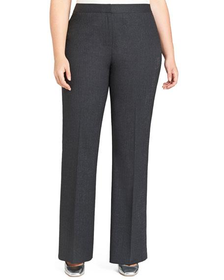 Menswear Straight-Leg Stretch-Wool Pants, Plus Size