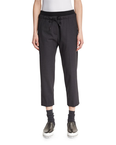 Drawstring Cropped Pants, Anthracite