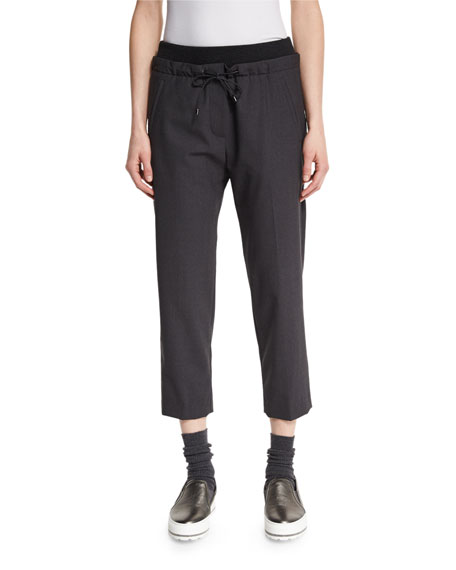 Brunello Cucinelli Drawstring Cropped Pants, Anthracite