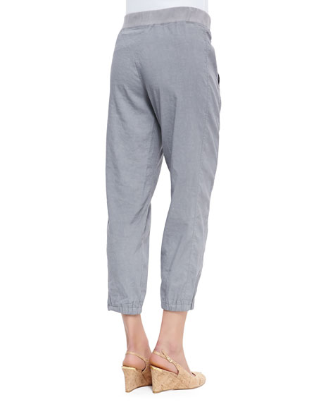 Cargo Linen-Blend Ankle Pants, Pewter