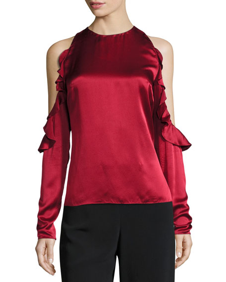 Cushnie Et Ochs Ruffled Cold-Shoulder Satin Blouse