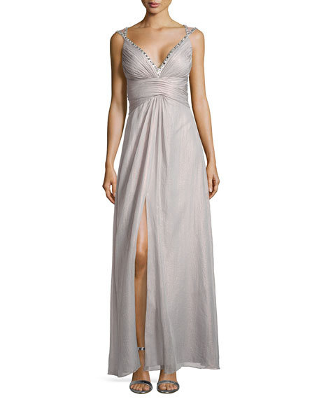 Gown W/ Beaded Crisscross Straps