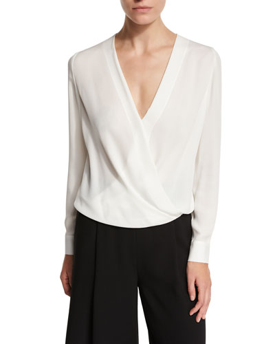 Marci Surplice Wrap Silk Blouse, Ivory