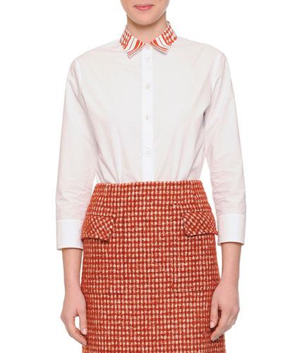 Laminated Print-Collar Button Blouse