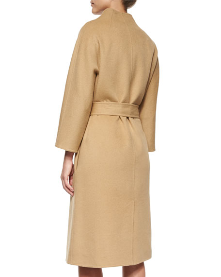 Double-Faced Belted Wrap Coat, Camel