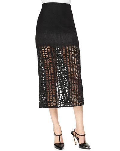 Cashmere-Blend Lace Combo  Midi Skirt