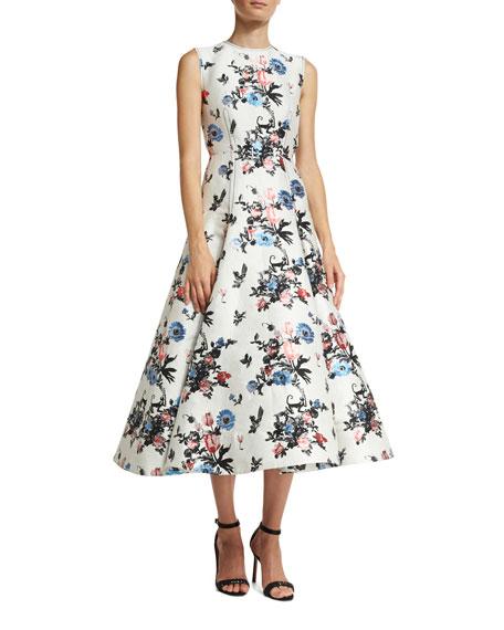 Sleeveless Enchanted Jungle Brocade Dress
