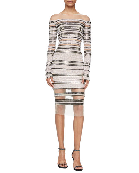 Pamella Roland Signature Sequined Illusion Long-Sleeve Dress,
