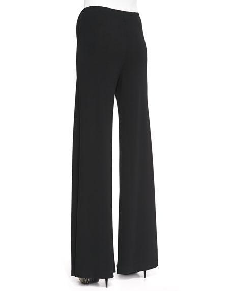 Jersey Crepe Side-Zip Wide-Leg Pants, Black