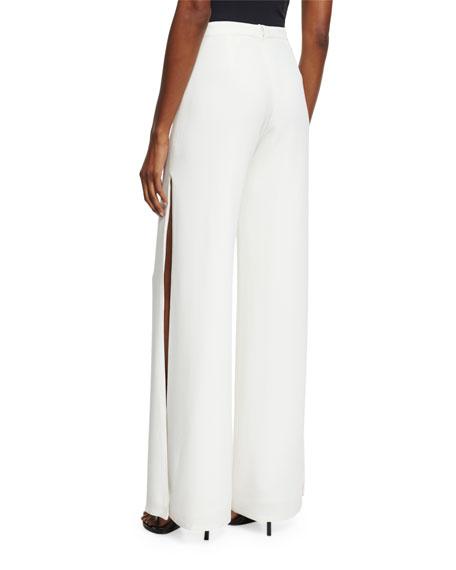 Brenda Wide-Leg Side-Slit Pants, White