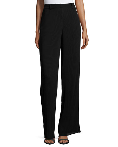 Pleated High-Waist Pants, Black