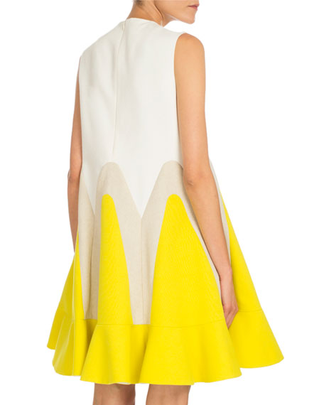 Pleated Tricolor Trapeze Dress, Daffodil Yellow