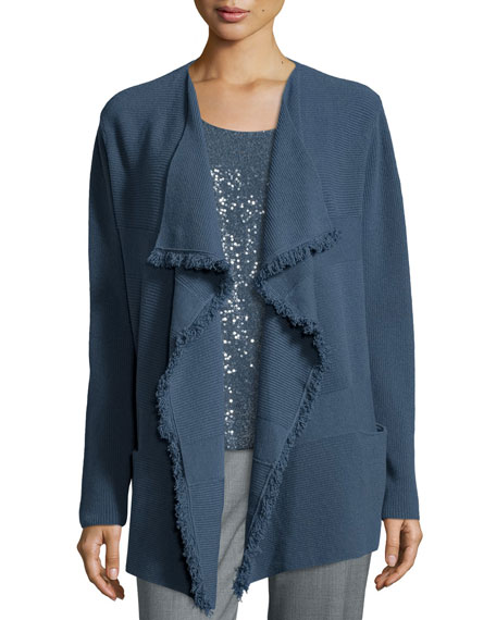 Lafayette 148 New York Mix-Ribbed Cardigan W/ Fringe