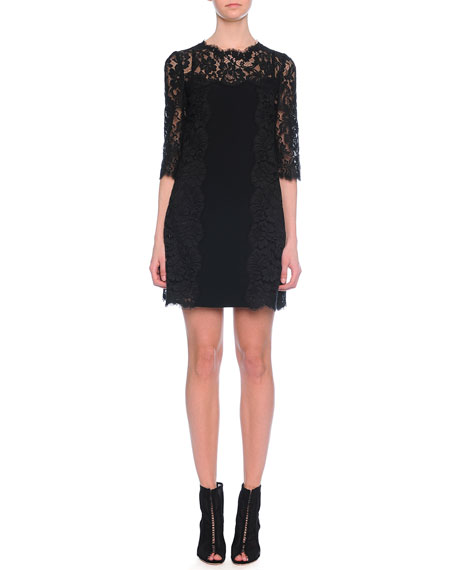Dolce & Gabbana Half-Sleeve Lace Shift Dress