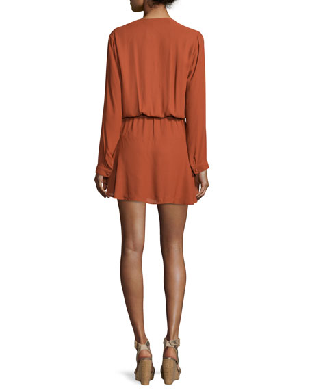 Pilar Long-Sleeve Blouson Mini Dress, Rust