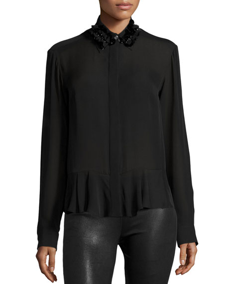 McQ Alexander McQueen Silk Embroidered Peplum Shirt, Black
