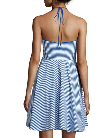 Sleeveless Halter-Neck Striped Mini Dress, Cobalt/White