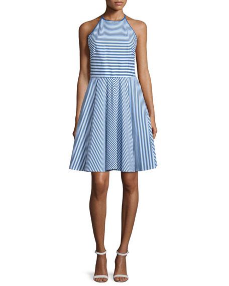 Michael Kors Sleeveless Halter-Neck Striped Mini Dress,