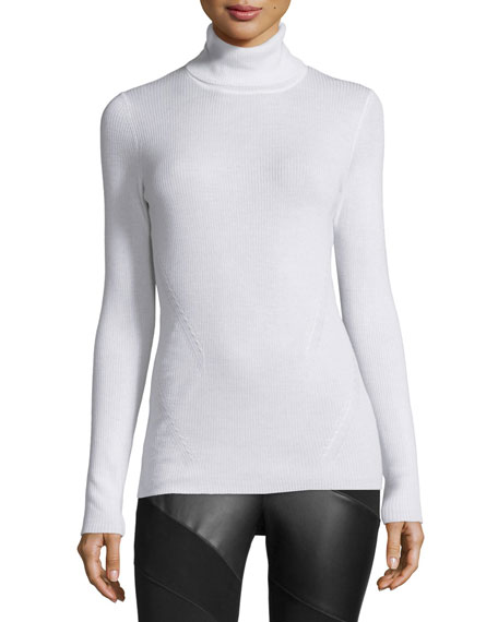 Diane von Furstenberg Sutton Wool-Silk Turtleneck Sweater, Canvas
