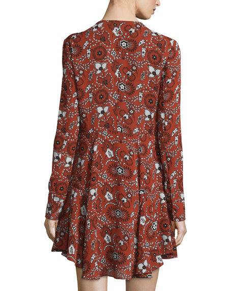 Randi Long-Sleeve Floral Silk Shirtdress, Henna/Black/White
