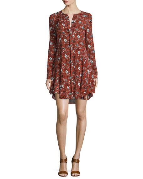 A.L.C. Randi Long-Sleeve Floral Silk Shirtdress, Henna/Black/White