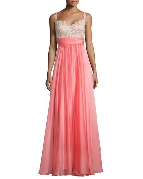 La Femme Sleeveless Sweetheart Combo Gown, Hot Coral