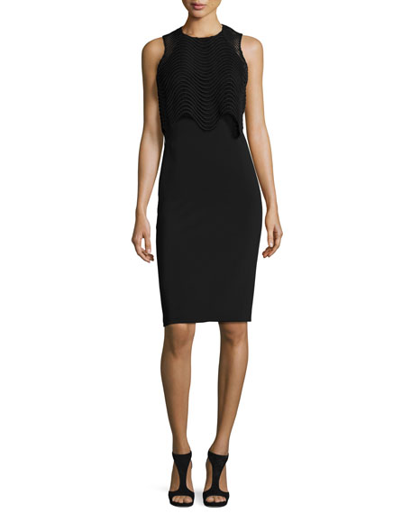 Badgley Mischka Sleeveless Popover Cocktail Dress, Black