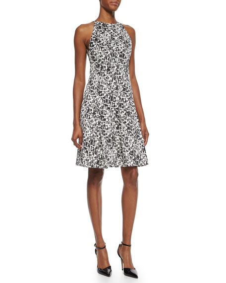Jason Wu Pleated Printed Silk Flounce Dress